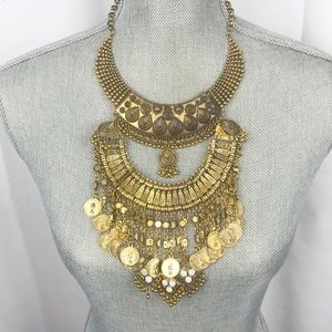 Vintage Coin Tiered Layered Necklace